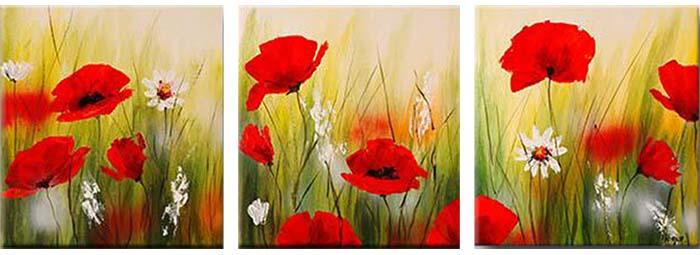 Картина Арт78 Маки и ромашки, модульная, 120 х 60 см. арт780052-2D_024Ничто так не облагораживает интерьер, как хорошая картина. Особенную атмосферу создаст крупное художественное полотно, размеры которого более метра. Подобные произведения искусства, выполненные в традиционной технике (холст, масляные краски), чрезвычайно капризны: требуют сложного ухода, регулярной реставрации, особого микроклимата – поэтому они просто не могут существовать в условиях обычной городской квартиры или загородного коттеджа, и требуют больших затрат. Данное полотно идеально приспособлено для создания изысканной обстановки именно у Вас. Это полотно создано с использованием как традиционных натуральных материалов (холст, подрамник - сосна), так и материалов нового поколения – краски, фактурный гель (придающий картине внешний вид масляной живописи, и защищающий ее от внешнего воздействия). Благодаря такой композиции, картина выглядит абсолютно естественно, и отличить ее от традиционной техники может только специалист. Но при этом изображение отлично смотрится с любого расстояния, под любым углом и при любом освещении. Картина не выцветает, хорошо переносит даже повышенный уровень влажности. При необходимости ее можно протереть сухой салфеткой из мягкой ткани.