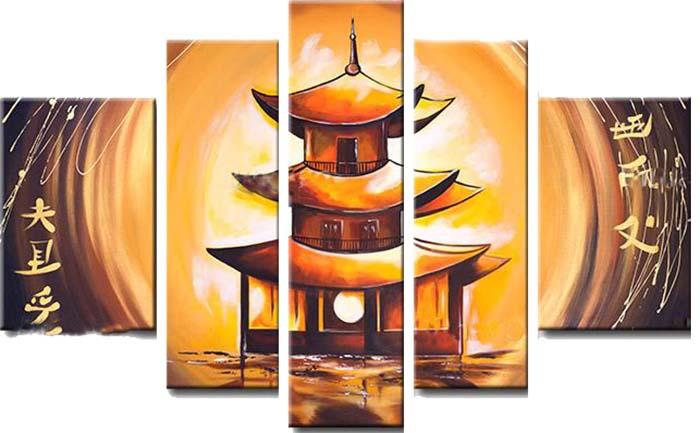 Картина Арт78 Пагода, модульная, 90 х 50 см. арт780055-325051 7_желтыйНичто так не облагораживает интерьер, как хорошая картина. Особенную атмосферу создаст крупное художественное полотно, размеры которого более метра. Подобные произведения искусства, выполненные в традиционной технике (холст, масляные краски), чрезвычайно капризны: требуют сложного ухода, регулярной реставрации, особого микроклимата – поэтому они просто не могут существовать в условиях обычной городской квартиры или загородного коттеджа, и требуют больших затрат. Данное полотно идеально приспособлено для создания изысканной обстановки именно у Вас. Это полотно создано с использованием как традиционных натуральных материалов (холст, подрамник - сосна), так и материалов нового поколения – краски, фактурный гель (придающий картине внешний вид масляной живописи, и защищающий ее от внешнего воздействия). Благодаря такой композиции, картина выглядит абсолютно естественно, и отличить ее от традиционной техники может только специалист. Но при этом изображение отлично смотрится с любого расстояния, под любым углом и при любом освещении. Картина не выцветает, хорошо переносит даже повышенный уровень влажности. При необходимости ее можно протереть сухой салфеткой из мягкой ткани.