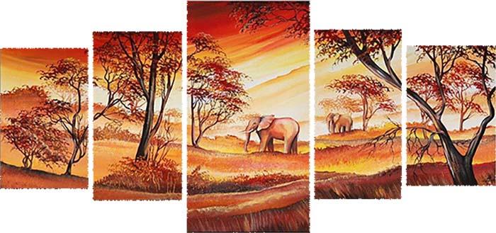 Картина Арт78 Африка, модульная, 140 х 80 см. арт780057-244449Ничто так не облагораживает интерьер, как хорошая картина. Особенную атмосферу создаст крупное художественное полотно, размеры которого более метра. Подобные произведения искусства, выполненные в традиционной технике (холст, масляные краски), чрезвычайно капризны: требуют сложного ухода, регулярной реставрации, особого микроклимата – поэтому они просто не могут существовать в условиях обычной городской квартиры или загородного коттеджа, и требуют больших затрат. Данное полотно идеально приспособлено для создания изысканной обстановки именно у Вас. Это полотно создано с использованием как традиционных натуральных материалов (холст, подрамник - сосна), так и материалов нового поколения – краски, фактурный гель (придающий картине внешний вид масляной живописи, и защищающий ее от внешнего воздействия). Благодаря такой композиции, картина выглядит абсолютно естественно, и отличить ее от традиционной техники может только специалист. Но при этом изображение отлично смотрится с любого расстояния, под любым углом и при любом освещении. Картина не выцветает, хорошо переносит даже повышенный уровень влажности. При необходимости ее можно протереть сухой салфеткой из мягкой ткани.