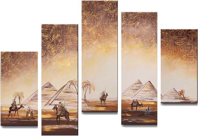 Картина Арт78 Пирамиды, модульная, 140 х 80 см. арт780060-2D_015Ничто так не облагораживает интерьер, как хорошая картина. Особенную атмосферу создаст крупное художественное полотно, размеры которого более метра. Подобные произведения искусства, выполненные в традиционной технике (холст, масляные краски), чрезвычайно капризны: требуют сложного ухода, регулярной реставрации, особого микроклимата – поэтому они просто не могут существовать в условиях обычной городской квартиры или загородного коттеджа, и требуют больших затрат. Данное полотно идеально приспособлено для создания изысканной обстановки именно у Вас. Это полотно создано с использованием как традиционных натуральных материалов (холст, подрамник - сосна), так и материалов нового поколения – краски, фактурный гель (придающий картине внешний вид масляной живописи, и защищающий ее от внешнего воздействия). Благодаря такой композиции, картина выглядит абсолютно естественно, и отличить ее от традиционной техники может только специалист. Но при этом изображение отлично смотрится с любого расстояния, под любым углом и при любом освещении. Картина не выцветает, хорошо переносит даже повышенный уровень влажности. При необходимости ее можно протереть сухой салфеткой из мягкой ткани.