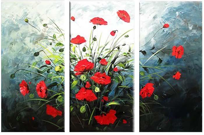 Картина Арт78 Маки, модульная, 80 х 60 см. арт780070-344445Ничто так не облагораживает интерьер, как хорошая картина. Особенную атмосферу создаст крупное художественное полотно, размеры которого более метра. Подобные произведения искусства, выполненные в традиционной технике (холст, масляные краски), чрезвычайно капризны: требуют сложного ухода, регулярной реставрации, особого микроклимата – поэтому они просто не могут существовать в условиях обычной городской квартиры или загородного коттеджа, и требуют больших затрат. Данное полотно идеально приспособлено для создания изысканной обстановки именно у Вас. Это полотно создано с использованием как традиционных натуральных материалов (холст, подрамник - сосна), так и материалов нового поколения – краски, фактурный гель (придающий картине внешний вид масляной живописи, и защищающий ее от внешнего воздействия). Благодаря такой композиции, картина выглядит абсолютно естественно, и отличить ее от традиционной техники может только специалист. Но при этом изображение отлично смотрится с любого расстояния, под любым углом и при любом освещении. Картина не выцветает, хорошо переносит даже повышенный уровень влажности. При необходимости ее можно протереть сухой салфеткой из мягкой ткани.