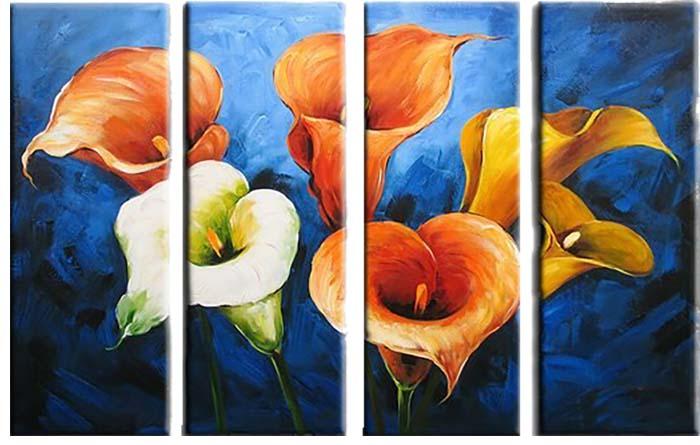 Картина Арт78 Каллы, модульная, 90 х 50 см. арт780071-3С_022Ничто так не облагораживает интерьер, как хорошая картина. Особенную атмосферу создаст крупное художественное полотно, размеры которого более метра. Подобные произведения искусства, выполненные в традиционной технике (холст, масляные краски), чрезвычайно капризны: требуют сложного ухода, регулярной реставрации, особого микроклимата – поэтому они просто не могут существовать в условиях обычной городской квартиры или загородного коттеджа, и требуют больших затрат. Данное полотно идеально приспособлено для создания изысканной обстановки именно у Вас. Это полотно создано с использованием как традиционных натуральных материалов (холст, подрамник - сосна), так и материалов нового поколения – краски, фактурный гель (придающий картине внешний вид масляной живописи, и защищающий ее от внешнего воздействия). Благодаря такой композиции, картина выглядит абсолютно естественно, и отличить ее от традиционной техники может только специалист. Но при этом изображение отлично смотрится с любого расстояния, под любым углом и при любом освещении. Картина не выцветает, хорошо переносит даже повышенный уровень влажности. При необходимости ее можно протереть сухой салфеткой из мягкой ткани.