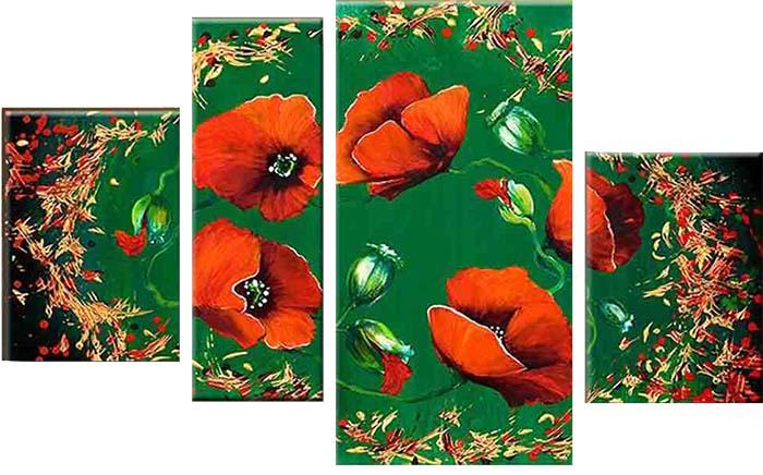 Картина Арт78 Маки, модульная, 135 х 90 см. арт780074-244459Ничто так не облагораживает интерьер, как хорошая картина. Особенную атмосферу создаст крупное художественное полотно, размеры которого более метра. Подобные произведения искусства, выполненные в традиционной технике (холст, масляные краски), чрезвычайно капризны: требуют сложного ухода, регулярной реставрации, особого микроклимата – поэтому они просто не могут существовать в условиях обычной городской квартиры или загородного коттеджа, и требуют больших затрат. Данное полотно идеально приспособлено для создания изысканной обстановки именно у Вас. Это полотно создано с использованием как традиционных натуральных материалов (холст, подрамник - сосна), так и материалов нового поколения – краски, фактурный гель (придающий картине внешний вид масляной живописи, и защищающий ее от внешнего воздействия). Благодаря такой композиции, картина выглядит абсолютно естественно, и отличить ее от традиционной техники может только специалист. Но при этом изображение отлично смотрится с любого расстояния, под любым углом и при любом освещении. Картина не выцветает, хорошо переносит даже повышенный уровень влажности. При необходимости ее можно протереть сухой салфеткой из мягкой ткани.