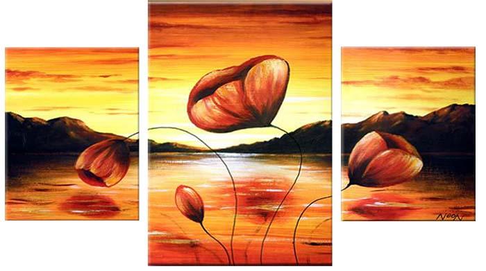 Картина Арт78 Маки, модульная, 100 х 60 см. арт780077-3D_048Ничто так не облагораживает интерьер, как хорошая картина. Особенную атмосферу создаст крупное художественное полотно, размеры которого более метра. Подобные произведения искусства, выполненные в традиционной технике (холст, масляные краски), чрезвычайно капризны: требуют сложного ухода, регулярной реставрации, особого микроклимата – поэтому они просто не могут существовать в условиях обычной городской квартиры или загородного коттеджа, и требуют больших затрат. Данное полотно идеально приспособлено для создания изысканной обстановки именно у Вас. Это полотно создано с использованием как традиционных натуральных материалов (холст, подрамник - сосна), так и материалов нового поколения – краски, фактурный гель (придающий картине внешний вид масляной живописи, и защищающий ее от внешнего воздействия). Благодаря такой композиции, картина выглядит абсолютно естественно, и отличить ее от традиционной техники может только специалист. Но при этом изображение отлично смотрится с любого расстояния, под любым углом и при любом освещении. Картина не выцветает, хорошо переносит даже повышенный уровень влажности. При необходимости ее можно протереть сухой салфеткой из мягкой ткани.