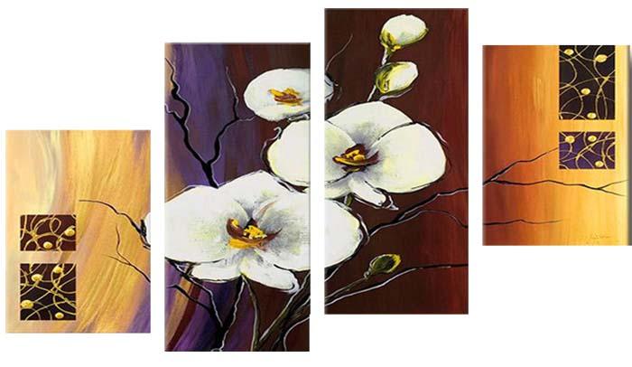 Картина Арт78 Орхидея, модульная, 135 х 90 см. арт780078-2D_050Ничто так не облагораживает интерьер, как хорошая картина. Особенную атмосферу создаст крупное художественное полотно, размеры которого более метра. Подобные произведения искусства, выполненные в традиционной технике (холст, масляные краски), чрезвычайно капризны: требуют сложного ухода, регулярной реставрации, особого микроклимата – поэтому они просто не могут существовать в условиях обычной городской квартиры или загородного коттеджа, и требуют больших затрат. Данное полотно идеально приспособлено для создания изысканной обстановки именно у Вас. Это полотно создано с использованием как традиционных натуральных материалов (холст, подрамник - сосна), так и материалов нового поколения – краски, фактурный гель (придающий картине внешний вид масляной живописи, и защищающий ее от внешнего воздействия). Благодаря такой композиции, картина выглядит абсолютно естественно, и отличить ее от традиционной техники может только специалист. Но при этом изображение отлично смотрится с любого расстояния, под любым углом и при любом освещении. Картина не выцветает, хорошо переносит даже повышенный уровень влажности. При необходимости ее можно протереть сухой салфеткой из мягкой ткани.