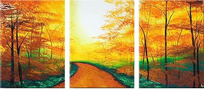 Картина Арт78 Тропа, модульная, 90 х 50 см. арт780081-3ВАН_ВК_4Ничто так не облагораживает интерьер, как хорошая картина. Особенную атмосферу создаст крупное художественное полотно, размеры которого более метра. Подобные произведения искусства, выполненные в традиционной технике (холст, масляные краски), чрезвычайно капризны: требуют сложного ухода, регулярной реставрации, особого микроклимата – поэтому они просто не могут существовать в условиях обычной городской квартиры или загородного коттеджа, и требуют больших затрат. Данное полотно идеально приспособлено для создания изысканной обстановки именно у Вас. Это полотно создано с использованием как традиционных натуральных материалов (холст, подрамник - сосна), так и материалов нового поколения – краски, фактурный гель (придающий картине внешний вид масляной живописи, и защищающий ее от внешнего воздействия). Благодаря такой композиции, картина выглядит абсолютно естественно, и отличить ее от традиционной техники может только специалист. Но при этом изображение отлично смотрится с любого расстояния, под любым углом и при любом освещении. Картина не выцветает, хорошо переносит даже повышенный уровень влажности. При необходимости ее можно протереть сухой салфеткой из мягкой ткани.