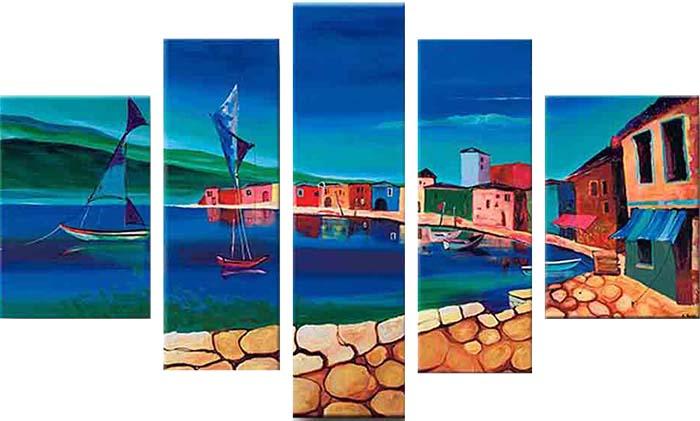 Картина Арт78 На берегу, модульная, 90 х 50 см. арт780082-3D_032Ничто так не облагораживает интерьер, как хорошая картина. Особенную атмосферу создаст крупное художественное полотно, размеры которого более метра. Подобные произведения искусства, выполненные в традиционной технике (холст, масляные краски), чрезвычайно капризны: требуют сложного ухода, регулярной реставрации, особого микроклимата – поэтому они просто не могут существовать в условиях обычной городской квартиры или загородного коттеджа, и требуют больших затрат. Данное полотно идеально приспособлено для создания изысканной обстановки именно у Вас. Это полотно создано с использованием как традиционных натуральных материалов (холст, подрамник - сосна), так и материалов нового поколения – краски, фактурный гель (придающий картине внешний вид масляной живописи, и защищающий ее от внешнего воздействия). Благодаря такой композиции, картина выглядит абсолютно естественно, и отличить ее от традиционной техники может только специалист. Но при этом изображение отлично смотрится с любого расстояния, под любым углом и при любом освещении. Картина не выцветает, хорошо переносит даже повышенный уровень влажности. При необходимости ее можно протереть сухой салфеткой из мягкой ткани.