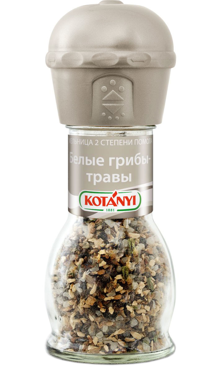 Kotanyi Белые грибы-травы, 42 г0120710Изысканная смесь белых грибов и ароматных трав улучшит вкус мясных и овощных блюд, а также соусов, салатов и супов.Внимание! Может содержать следы глютеносодержащих злаков, яиц, сои, сельдерея, кунжута, орехов, молока (лактозы), горчицы.Уважаемые клиенты! Обращаем ваше внимание, что полный перечень состава продукта представлен на дополнительном изображении.