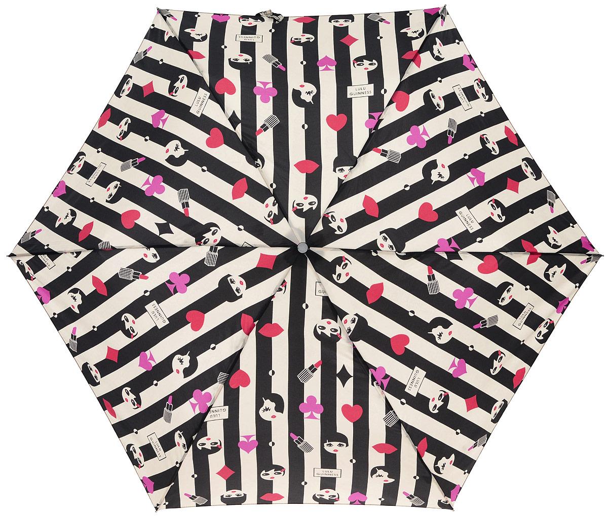 Зонт женский Lulu Guinness Superslim, механический, 3 сложения, цвет: черный, бежевый. L718-2683Колье (короткие одноярусные бусы)Стильный механический зонт Lulu Guinness Superslim в 3 сложения даже в ненастную погоду позволит вам оставаться элегантной. Облегченный каркас зонта выполнен из 6 спиц из фибергласса и алюминия, стержень также изготовлен из алюминия, удобная рукоятка - из пластика. Купол зонта выполнен из прочного полиэстера. В закрытом виде застегивается хлястиком на кнопке. Яркий оригинальный орнамент поднимет настроение в дождливый день.Зонт механического сложения: купол открывается и закрывается вручную до характерного щелчка.На рукоятке для удобства есть небольшой шнурок, позволяющий надеть зонт на руку тогда, когда это будет необходимо. К зонту прилагается чехол, который застегивается на липучку. Чехол оформлен нашивкой с названием бренда. Такой зонт компактно располагается в кармане, сумочке, дверке автомобиля.