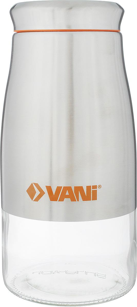 Банка для сыпучих продуктов VANI, 1,7 лМ 1222Банка для хранения сыпучих продуктов VANI станет незаменимым аксессуаром на любой кухне. Она предназначена для компактного хранения сыпучих продуктов, что позволяет экономить место на полке. Ее корпус изготовлен из экологически чистого стекла и высококачественной нержавеющий стали, что обеспечивает длительный срок для эксплуатации изделия. Кроме того, прозрачные стенки данной модели позволяет вам контролировать остаток содержимого в банке. Для наилучшей сохранности продуктов крышка освещена пластиковым уплотнителем.Объем емкости: 1,7 л.Размер: 24 х 11 х 11 см.