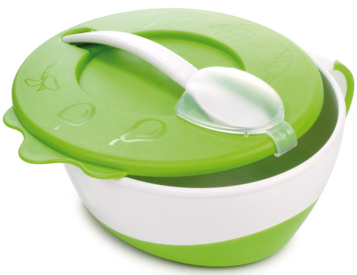 Canpol Babies Набор посуды для кормления цвет белый зеленый 3 предмета115510Набор посуды для кормления Canpol Babies состоит из тарелки с крышкой и ложки. Посуда изготовлена из качественных и безопасных материалов.Использование глубокой тарелочки облегчает процесс кормления ребенка. Герметичная крышка помогает сохранить вкус и свежесть продуктов. На крышке находится удобная застежка для ложки. Тарелка имеет нескользящее дно и удобную ручку.Набор предназначен для детей старше 9 месяцев.Не содержит Бисфенол А.
