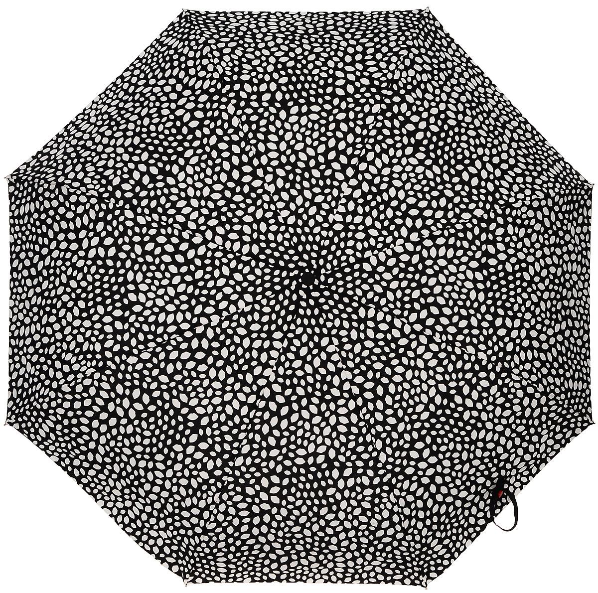 Зонт женский Lulu Guinness Superlite, механический, 3 сложения, цвет: черный, белый. L781-3149CX1516-50-10Стильный механический зонт Lulu Guinness Superlite в 3 сложения даже в ненастную погоду позволит вам оставаться элегантной. Облегченный каркас зонта выполнен из 8 спиц из фибергласса и алюминия, стержень также изготовлен из алюминия, удобная рукоятка - из пластика. Купол зонта выполнен из прочного полиэстера. В закрытом виде застегивается хлястиком на кнопке. Яркий оригинальный принт в виде изображения губ поднимет настроение в дождливый день.Зонт механического сложения: купол открывается и закрывается вручную до характерного щелчка.На рукоятке для удобства есть небольшой шнурок, позволяющий надеть зонт на руку тогда, когда это будет необходимо. К зонту прилагается чехол с небольшой нашивкой с названием бренда. Такой зонт компактно располагается в кармане, сумочке, дверке автомобиля.