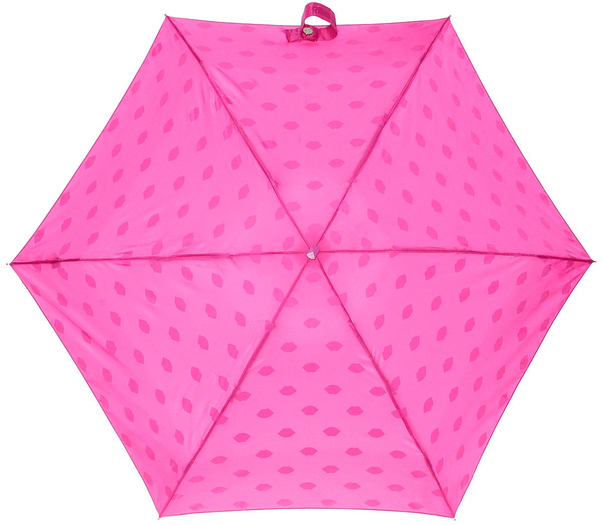 Зонт женский Lulu Guinness Tiny, механический, 5 сложений, цвет: фуксия, белый. L717-2781Колье (короткие одноярусные бусы)Стильный механический зонт Lulu Guinness Tiny в 5 сложений даже в ненастную погоду позволит вам оставаться элегантной. Облегченный каркас зонта выполнен из 6 спиц из фибергласса и алюминия, стержень также изготовлен из алюминия, удобная рукоятка - из пластика. Купол зонта выполнен из прочного полиэстера. В закрытом виде застегивается хлястиком на липучке. Яркий оригинальный принт в виде изображения губ поднимет настроение в дождливый день.Зонт механического сложения: купол открывается и закрывается вручную до характерного щелчка.На рукоятке для удобства есть небольшой шнурок, позволяющий надеть зонт на руку тогда, когда это будет необходимо. К зонту прилагается чехол с небольшой нашивкой с названием бренда. Такой зонт компактно располагается в кармане, сумочке, дверке автомобиля.