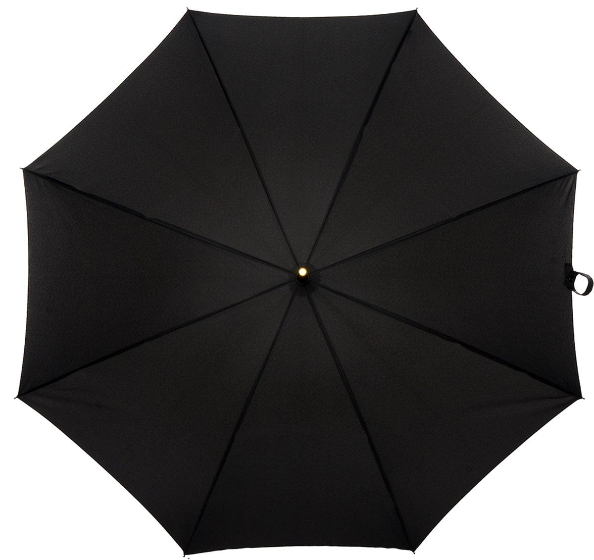 Зонт-трость мужской Fulton, механика, цвет: черный. G801-01REM12-CAM-GREENBLACKЗонт-трость Fulton надежно защитит от непогоды. Купол выполнен из высококачественного полиэстера, который не пропускает воду.Каркас зонта, выполненный из прочного металла, состоит из восьми спиц. Зонт имеет механический тип сложения: открывается и закрывается вручную до характерного щелчка. Удобная ручка изогнутой формы выполнена из натуральной кожи.