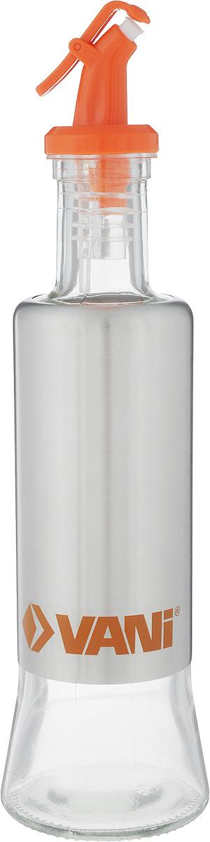 Емкость для масла VANI, с дозатором, 320 млVT-1520(SR)Емкость для масла VANI, изготовленная из стекла с обрамлением из нержавеющей стали, будет полезна для каждой хозяйки. Она легка в использовании. Крышка плотно прилегает к емкости и не позволит жидкости вытечь. Удобный дозатор поможет аккуратно перелить масло или любую другую жидкость из емкости. Диаметр основания: 6,5 см.Высота емкости: 25 см.