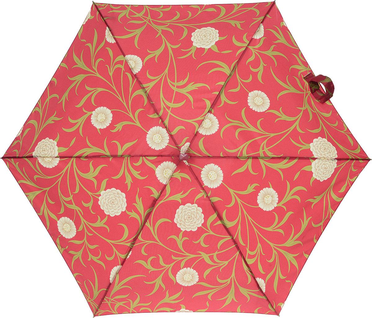 Зонт женский Morris & Co Tiny, механический, 5 сложений, цвет: бордовый, бежевый, зеленый. L713-2594REM12-CAM-GREENBLACKСтильный механический зонт Morris & Co Tiny в 5 сложений даже в ненастную погоду позволит вам оставаться элегантной. Облегченный каркас зонта выполнен из 6 спиц из фибергласса и алюминия, стержень также изготовлен из алюминия, удобная рукоятка - из дерева. Купол зонта выполнен из прочного полиэстера. В закрытом виде застегивается хлястиком на липучке. Яркий оригинальный цветочный рисунок поднимет настроение в дождливый день.Зонт механического сложения: купол открывается и закрывается вручную до характерного щелчка.На рукоятке для удобства есть небольшой шнурок, позволяющий надеть зонт на руку тогда, когда это будет необходимо. К зонту прилагается чехол, который оформлен нашивкой с названием бренда. Такой зонт компактно располагается в кармане, сумочке, дверке автомобиля.