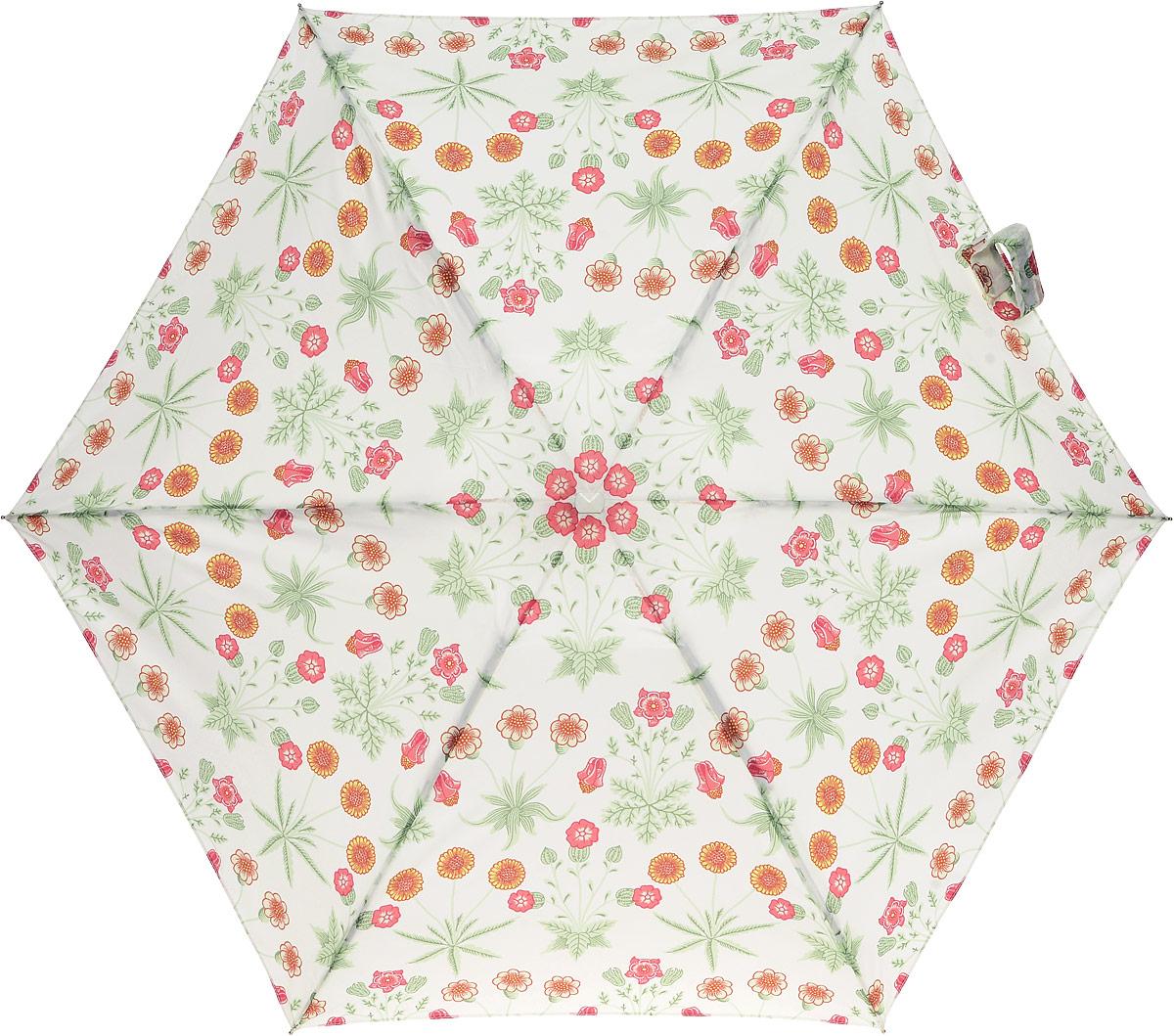 Зонт женский Morris & Co Tiny, механический, 5 сложений, цвет: белый, мультиколор. L713-2794Пуссеты (гвоздики)Стильный механический зонт Morris & Co Tiny в 5 сложений даже в ненастную погоду позволит вам оставаться элегантной. Облегченный каркас зонта выполнен из 6 спиц из фибергласса и алюминия, стержень также изготовлен из алюминия, удобная рукоятка - из дерева. Купол зонта выполнен из прочного полиэстера. В закрытом виде застегивается хлястиком на липучке. Яркий оригинальный цветочный рисунок поднимет настроение в дождливый день.Зонт механического сложения: купол открывается и закрывается вручную до характерного щелчка.На рукоятке для удобства есть небольшой шнурок, позволяющий надеть зонт на руку тогда, когда это будет необходимо. К зонту прилагается чехол, который оформлен нашивкой с названием бренда. Такой зонт компактно располагается в кармане, сумочке, дверке автомобиля.