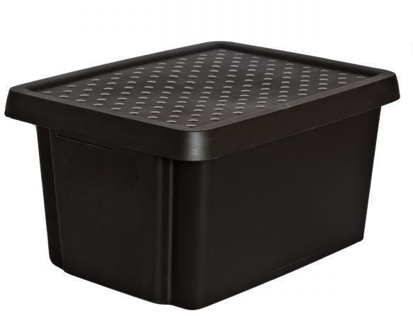Коробка для хранения Curver Essentials, с крышкой, цвет: черный, 16 л1004900000360Коробка для хранения Curver Essentials выполнен из высококачественного пластика. Она идеально подойдет для хранения вещей дома, на даче или в гараже. Изделие оснащено крышкой и двумя эргономичными ручками для переноски. Контейнер Essentials очень вместителен и поможет вам хранить все необходимые вещи в одном месте.