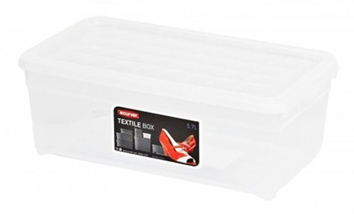 Контейнер для хранения Curver Textile, цвет: прозрачный, 5,7 л. 03003-001-001004900000360Контейнер для хранения Curver Textile, выполненный из прочного прозрачного пластика, предназначен для хранения различных вещей. Крышка легко открывается и плотно закрывается с помощью легкого щелчка.Контейнер поможет хранить все в одном месте, а также защитить вещи от пыли, грязи и влаги.