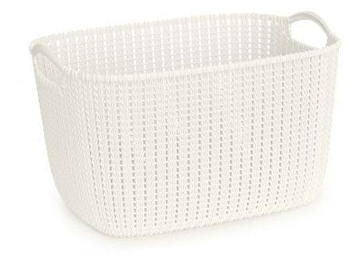 Корзина универсальная Curver Knit, цвет: белый, 19 л1004900000360Универсальная корзина Curver Knit изготовлена из высококачественного пластика и декоративной перфорацией под плетение. Для дополнительного удобства корзина имеет удобные ручки. Такая корзина непременно пригодится в быту, в ней можно хранить кухонные принадлежности, специи, аксессуары для ванной и другие бытовые предметы.