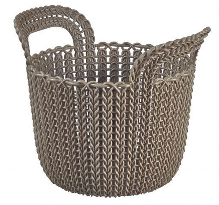 Корзина универсальная Curver Knit, круглая, цвет: темно-коричневый, 3 лRG-D31SУниверсальная корзина Curver Knit изготовлена из высококачественного пластика и дополнена перфорированными стенками и дном под плетение. Для дополнительного удобства корзина имеет удобные ручки. Такая корзина непременно пригодится в быту, в ней можно хранить кухонные принадлежности, специи, аксессуары для ванной и другие бытовые предметы. Размер корзины: 19 х 19 х 23 см.