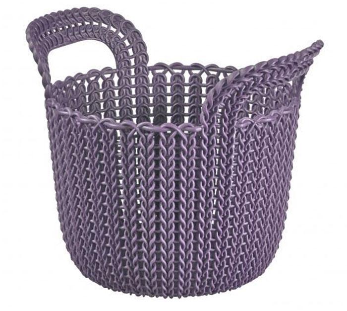 Корзина универсальная Curver Knit, круглая, цвет: фиолетовый, 3 лS03301004Универсальная корзина Curver Knit изготовлена из высококачественного пластика и дополнена перфорированными стенками и дном под плетение. Для дополнительного удобства корзина имеет удобные ручки. Такая корзина непременно пригодится в быту, в ней можно хранить кухонные принадлежности, специи, аксессуары для ванной и другие бытовые предметы. Размер корзины: 19 х 19 х 23 см.