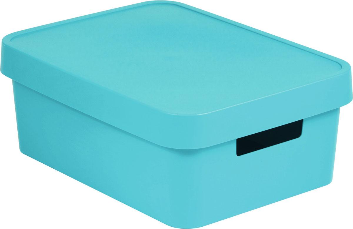 Коробка для хранения Curver Infinity, с крышкой, цвет: лазурный, 4,5 лБрелок для ключейКоробка для хранения Curver Infinity изготовлена из высококачественного пластика. Идеально подходит для хранения мелочей для ванной и различных бытовых вещей. Изделие оснащено крышкой и удобными ручками по бокам.