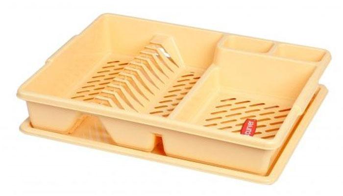 Сушилка для посуды Curver, с поддоном, цвет: желтый, 47 х 38 х 8,5 смМ 1146Сушилка для посуды Curver изготовлена из высококачественного прочного пластика. Изделие оснащено пластиковым поддоном для стекания воды и содержит секции для вертикальной сушки посуды и столовых приборов. Такая сушилка не займет много места на кухне и поможет аккуратно хранить вашу посуду.Размер сушилки: 47 см х 38 см х 8,5 см.Размер поддона: 47 см х 38 см х 1,8 см.