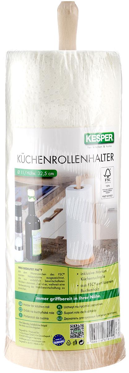 Стойка для бумажных полотенец Kesper, цвет: светло-бежевый, высота 32,5 смVT-1520(SR)Стойка для бумажных полотенец Kesper изготовлена из натурального дерева. Состоит из круглого основания и стержня, на который устанавливается рулон с бумажными полотенцами. Стойка очень удобна в использовании.Оригинальный держатель стильно украсит интерьер кухни и станет аксессуаром, который будет обращать на себя внимание.Рулон бумажных полотенец входит в комплект.Высота стойки: 32,5 см.Диаметр стойки: 11,5 см.