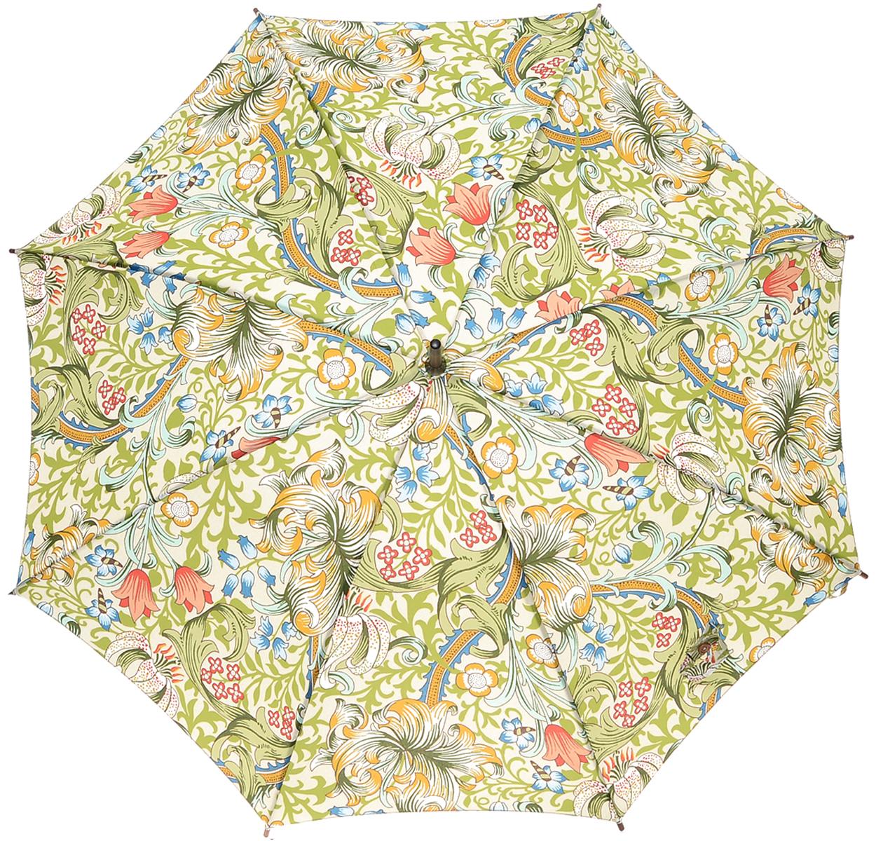 Зонт-трость женский Golden Lily, механический, цвет: зеленый45100088/18072/1000NСтильный механический зонт-трость Golden Lily даже в ненастную погоду позволит вам оставаться элегантной. Облегченный каркас зонта выполнен из 8 спиц из стали, стержень изготовлен из дерева. Купол зонта выполнен из прочного полиэстера и оформлен растительным принтом. Рукоятка закругленной формы разработана с учетом требований эргономики и выполнена из дерева. Зонт имеет механический тип сложения: купол открывается и закрывается вручную до характерного щелчка.Такой зонт не только надежно защитит вас от дождя, но и станет стильным аксессуаром. Характеристики:Материал: полиэстер, сталь, дерево. Диаметр купола: 102 см.Цвет: зеленый. Длина стержня зонта: 78 см. Длина зонта (в сложенном виде): 89 см.Вес: 370 г.Артикул: L715 3S1605.