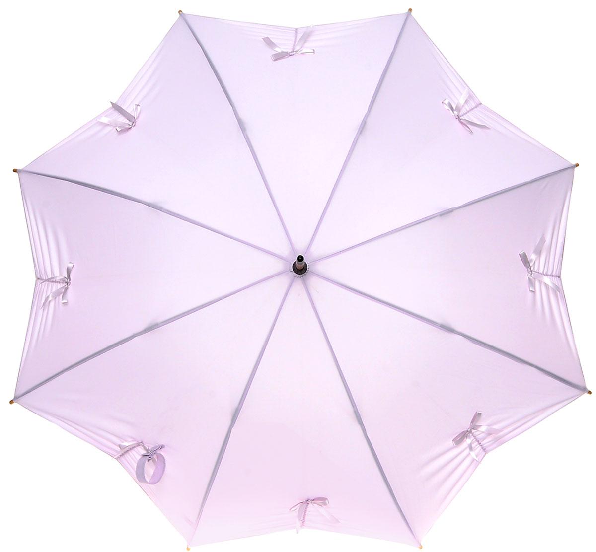Зонт-трость женский Fulton Kensington, механический, цвет: сиреневый. L776-3211K50K503414_0010Модный механический зонт-трость Fulton Kensington. Каркас зонта состоит из 8 спиц из фибергласса и деревянного стержня. Купол зонта выполнен из прочного полиэстера и украшен аппликацией в виде бантиков. Изделие оснащено удобной рукояткой из дерева.Зонт механического сложения: купол открывается и закрывается вручную до характерного щелчка.Модель закрывается при помощи двух хлястиков с кнопками. Зонт-трость даже в ненастную погоду позволит вам оставаться стильной и элегантной. Такой зонт не только надежно защитит вас от дождя, но и станет стильным аксессуаром, который идеально подчеркнет ваш неповторимый образ.