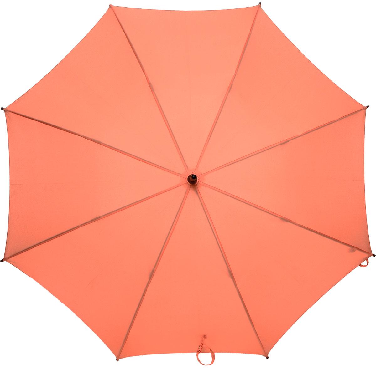 Зонт-трость женский Fulton Kensington, механический, цвет: коралловый. L776-04145100032/35449/3537AМодный механический зонт-трость Fulton Kensington даже в ненастную погоду позволит вам оставаться стильной и элегантной. Каркас зонта состоит из 8 спиц и стержня из фибергласса. Купол зонта выполнен из прочного полиэстера. Изделие оснащено удобной рукояткой из дерева.Зонт механического сложения: купол открывается и закрывается вручную до характерного щелчка.Модель закрывается при помощи хлястика на кнопку.Такой зонт не только надежно защитит вас от дождя, но и станет стильным аксессуаром, который идеально подчеркнет ваш неповторимый образ.