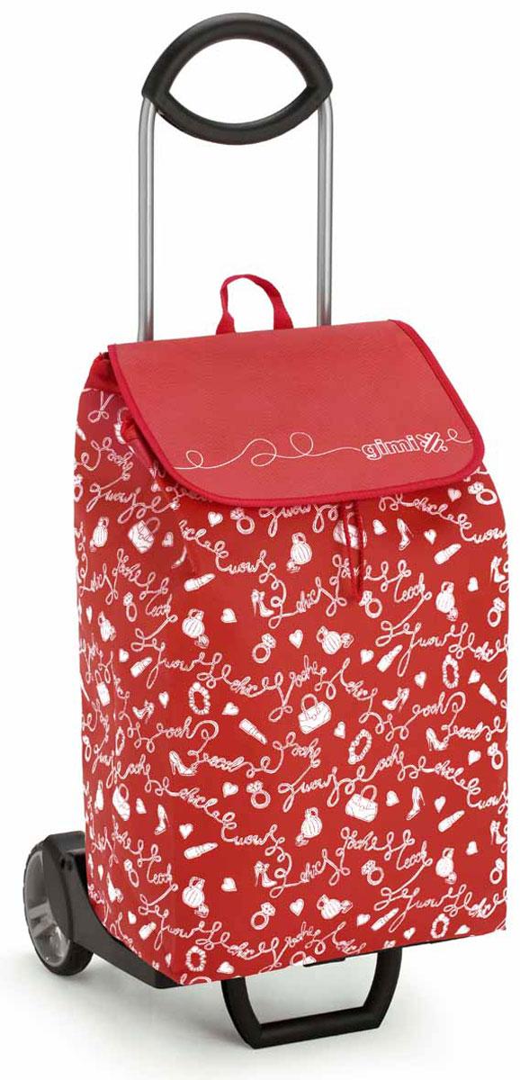 Сумка-тележка Gimi Easy, цвет: красный. 1518860800000a030041Хозяйственная сумка-тележка с каркасом из стали/жестких смол, сумка выполнена из нетканой ткани.Сумка водоустойчивая, закрывается на кулиску. С удобной подставкой для зонтика. Без сумки изделие превращается в универсальную тележку. Made in Italy.