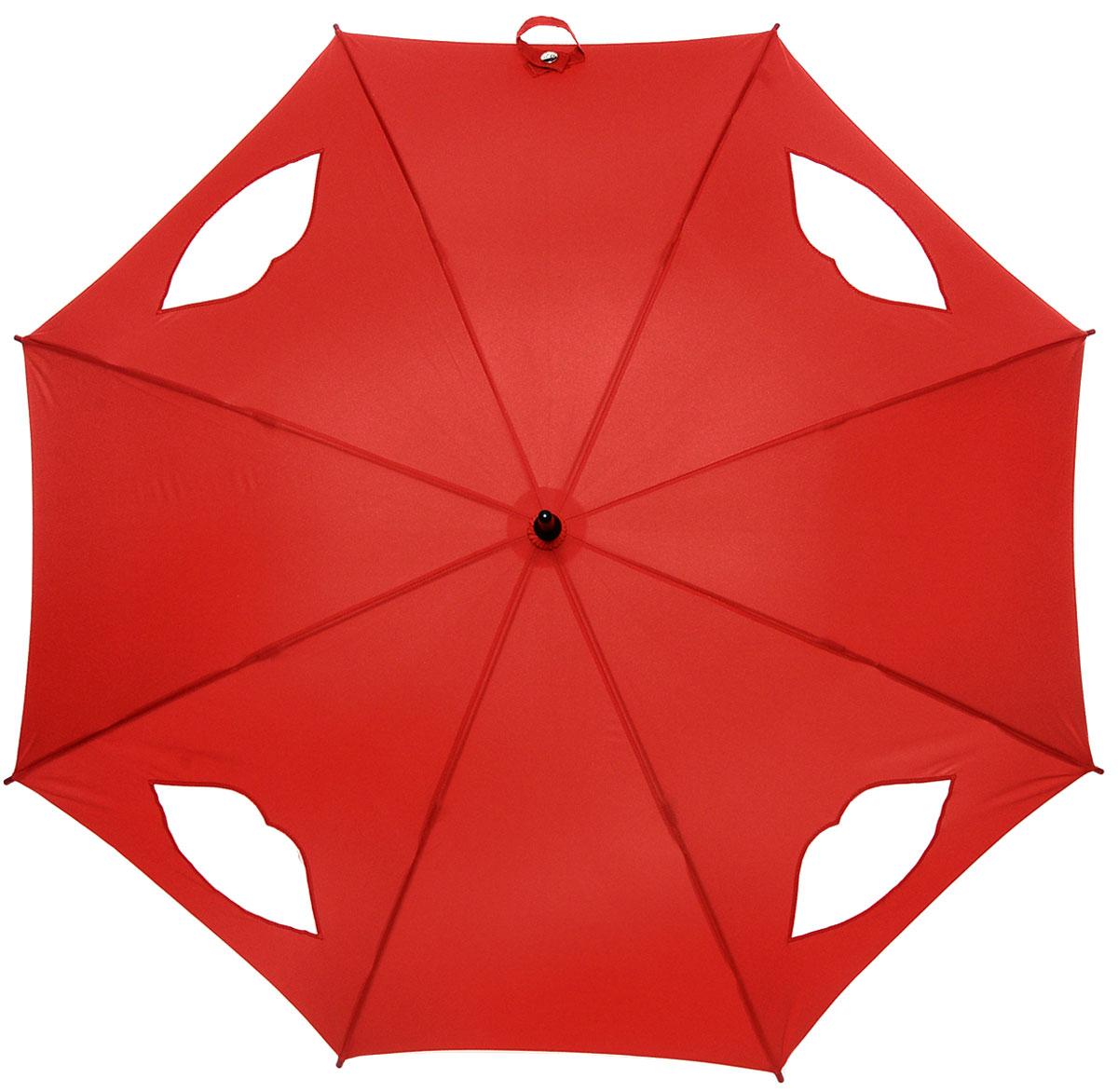 Зонт-трость женский Lulu Guinness Kensington, механический, цвет: темно-красный. L777-2785CX1516-50-10Модный механический зонт-трость Fulton Lulu Guinness даже в ненастную погоду позволит вам оставаться стильной и элегантной. Каркас зонта состоит из 8 спиц и стержня из фибергласса. Купол зонта выполнен из прочного полиэстера и оформлен вставками в виде губ, которые выполнены из полупрозрачного материала. Изделие оснащено удобной рукояткой из дерева.Зонт механического сложения: купол открывается и закрывается вручную до характерного щелчка.Модель закрывается при помощи хлястика на кнопке.Такой зонт не только надежно защитит вас от дождя, но и станет стильным аксессуаром, который идеально подчеркнет ваш неповторимый образ.