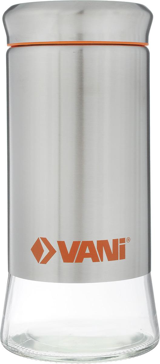 Банка для хранения сыпучих продуктов VANI, 900 млVT-1520(SR)Банка VANI изготовлена из стекла с обрамлением из нержавеющей стали. Емкость снабжена крышкой из пластика и нержавеющей стали с силиконовым уплотнителем, которая плотно закрывается, дольше сохраняя аромат и свежесть содержимого. Банка подходит для хранения сыпучих продуктов: круп, специй, сахара, соли. Такая банка станет полезным приобретением и пригодится на любой кухне. Она сохраняет прекрасный внешний вид даже после многолетнего использования. Во избежание повреждений поверхности не используйте для мытья металлические губки, абразивные материалы, хлор и кислотосодержащие очистители.Диаметр (по верхнему краю): 7,5 см.Высота (без учета крышки): 19,5 см.