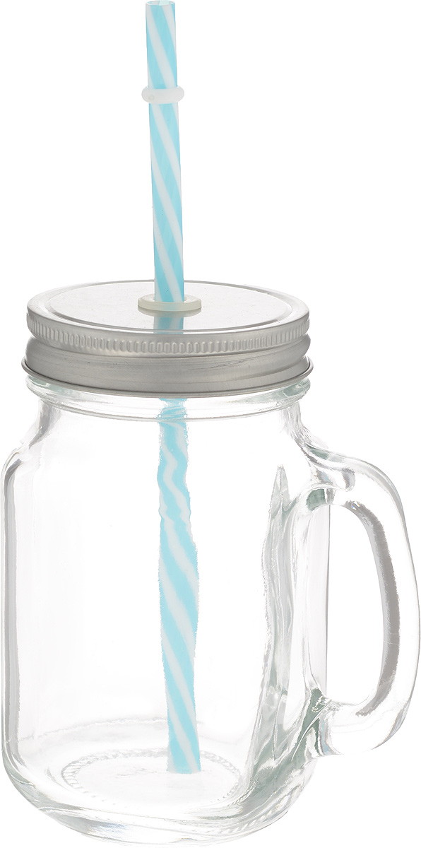 Емкость для напитков Zeller, с трубочкой, 470 мл03с785_гербЕмкость для напитков Zeller выполнена из высококачественного стекла. Изделие снабжено металлической крышкой с отверстием для трубочки, а также удобной ручкой. Эта емкость станет идеальным вариантом для подачи лимонадов, ароматных свежевыжатых соков и вкусных смузи. Уважаемые клиенты! Обращаем ваше внимание на возможные изменения в цвете крышки и трубочки. Поставка осуществляется в зависимости от прихода товара на склад.