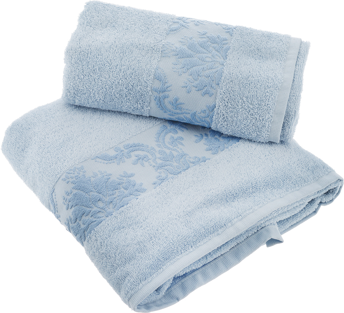 Набор махровых полотенец Hobby Home Collection Ruzanna, цвет: голубой, 2 шт68/5/3Набор Hobby Home Collection Ruzanna состоит из 2 махровых полотенец, выполненных из натурального 100% хлопка. Изделия отлично впитывают влагу, быстро сохнут, сохраняют яркость цвета и не теряют формы даже после многократных стирок.Изделия упакованы в подарочную коробку.Размер маленького полотенца: 50 х 90 см.Размер большого полотенца: 70 х 140 см.
