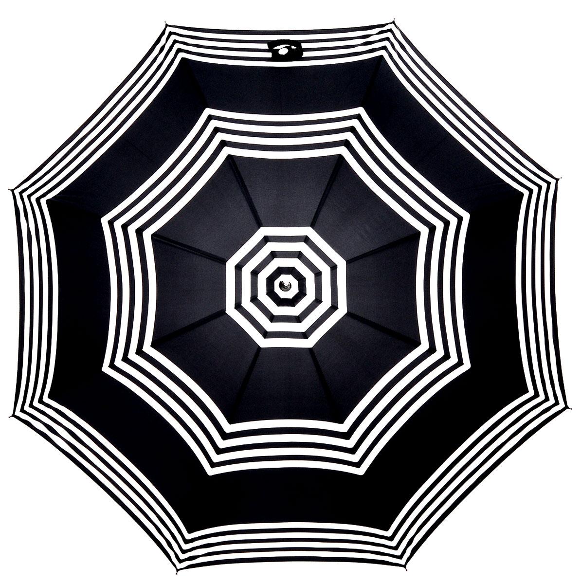 Зонт-трость женский Lulu Guinness Eliza, механический, цвет: черный, белый. L720-2784П250071001-22Модный механический зонт-трость Lulu Guinness Eliza даже в ненастную погоду позволит вам оставаться стильной и элегантной. Каркас зонта включает 8 спиц из фибергласса. Стержень изготовлен из стали. Купол зонта выполнен из прочного полиэстера и оформлен принтом в виде полосок. Изделие дополнено удобной рукояткой из пластика с металлическим элементом.Зонт механического сложения: купол открывается и закрывается вручную до характерного щелчка. Модель застегивается с помощью хлястика на кнопку.Такой зонт не только надежно защитит вас от дождя, но и станет стильным аксессуаром, который идеально подчеркнет ваш неповторимый образ.