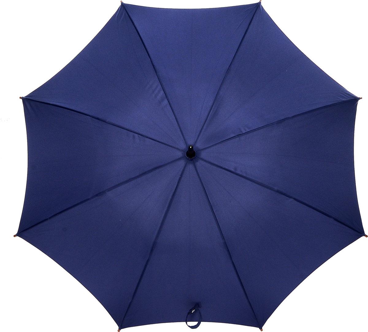 Зонт-трость женский Fulton Kensington, механический, цвет: темно-синий. L776-033K50K502473_0010Модный механический зонт-трость Fulton Kensington даже в ненастную погоду позволит вам оставаться стильной и элегантной. Каркас зонта состоит из 8 спиц и стержня из фибергласса. Купол зонта выполнен из прочного полиэстера. Изделие оснащено удобной рукояткой из дерева.Зонт механического сложения: купол открывается и закрывается вручную до характерного щелчка.Модель закрывается при помощи двух хлястиков на кнопках.Такой зонт не только надежно защитит вас от дождя, но и станет стильным аксессуаром, который идеально подчеркнет ваш неповторимый образ.