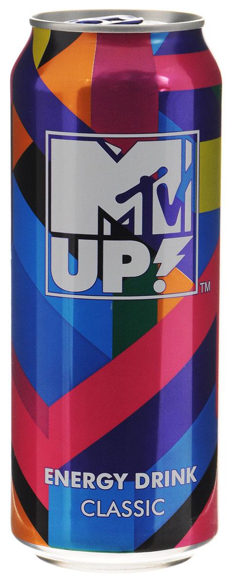 MTV UP! Classic напиток энергетический газированный, 0,5 л0120710Энергетический напиток MTV UP! Classic содержит натуральный кофеин, L-карнитин, экстракт семян гуараны и экстракт женьшеня. А также витамины: C, B6, B12. Тонизирующий напиток не содержит консервантов. ГОСТ Р 52844-2007.Уважаемые клиенты! Обращаем ваше внимание, что полный перечень состава продукта представлен на дополнительном изображении.