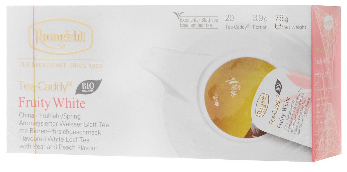Ronnefeldt белый чай со вкусом груши и персика в пакетиках для чайника, 20 шт4607014860697Удачная композиция с типичной сладостью груши и нотками спелого персика придает этому белому чаю освежающий фруктовый вкус.Этот чай по качеству и вкусу соответствует листовому чаю - ведь это и есть листовой чай, но уже порционированный для чайника. Чайные листья находятся в индивидуальном просторном пакетике, где они могут полностью раскрыться и превратить напиток в истинное наслаждение.