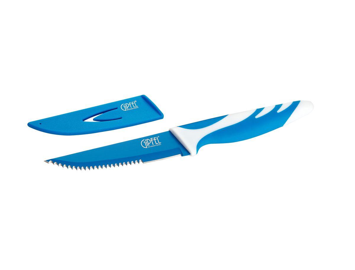 Нож для мяса Gipfel Rainbow, с чехлом, цвет: синий, длина лезвия 10 см94672Нож Gipfel Rainbow предназначен для мяса и выполнен из высокоуглеродистой нержавеющей стали (с повышенным содержанием углерода). Лезвие имеет серрейторную заточку. Ножи из высокоуглеродистой нержавеющей стали относятся к ножам более высокого класса. Высокое содержание углерода способствует долгому сохранению заточки, а нержавеющая сталь обеспечивает устойчивость к коррозии и пятнообразованию. Прорезиненная ручка способствует комфортному использованию ножа.В комплект прилагается пластиковый чехол для безопасного хранения ножа.Нож Gipfel Rainbow займет достойное место среди аксессуаров на вашей кухне.