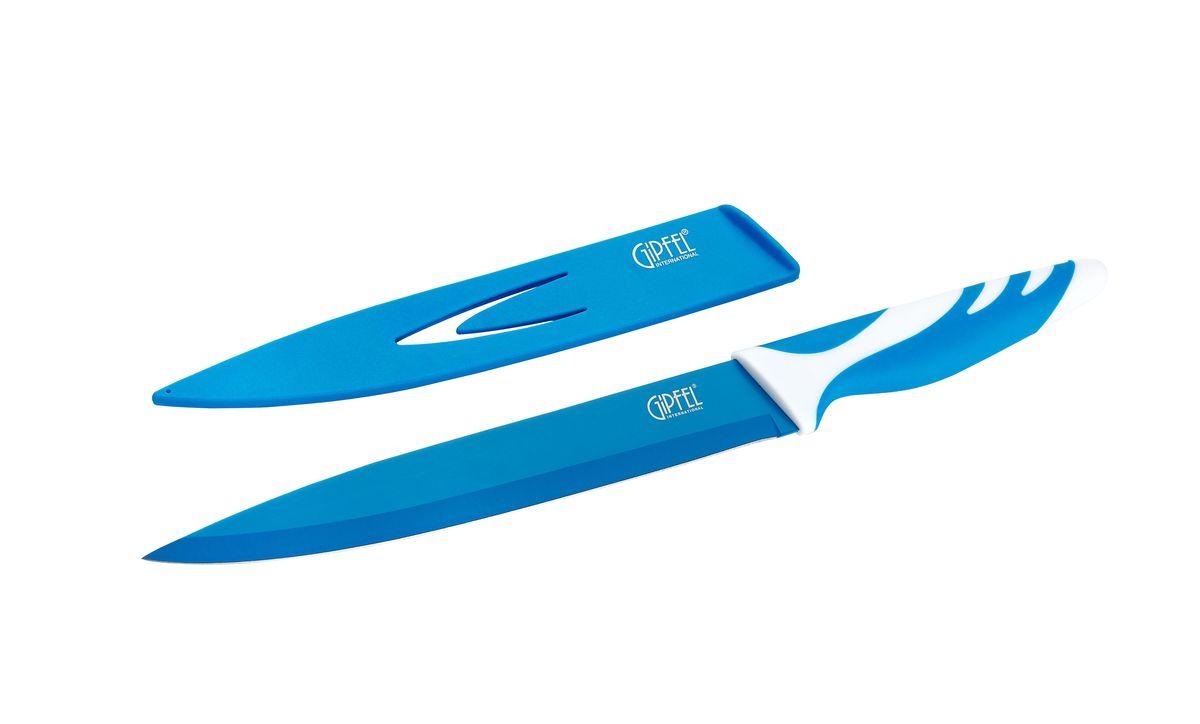 Нож для мяса Gipfel Rainbow, с чехлом, цвет: синий, длина лезвия 20 см54 009312Нож Gipfel Rainbow предназначен для мяса и выполнен из высокоуглеродистой нержавеющей стали (с повышенным содержанием углерода). Ножи из высокоуглеродистой нержавеющей стали относятся к ножам более высокого класса. Высокое содержание углерода способствует долгому сохранению заточки, а нержавеющая сталь обеспечивает устойчивость к коррозии и пятнообразованию. Прорезиненная ручка способствует комфортному использованию ножа.В комплект прилагается пластиковый чехол для безопасного хранения ножа.Нож Gipfel Rainbow займет достойное место среди аксессуаров на вашей кухне.