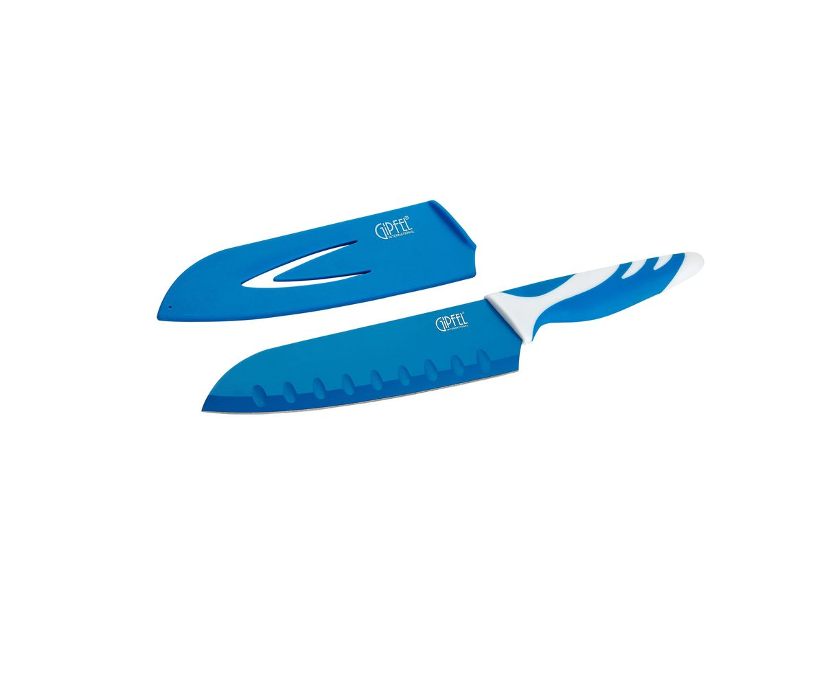 Нож сантоку Gipfel Rainbow, с чехлом, цвет: синий, длина лезвия 18 см54 009312Нож сантоку Gipfel Rainbow изготовлен из высококачественной высокоуглеродистой нержавеющей стали. Высокое содержание углерода способствует долгому сохранению заточки, а нержавеющая сталь обеспечивает устойчивость к коррозии и пятнообразованию. Такие ножи прекрасно держат заточку, не ржавеют, очень прочны и легки в использовании и уходе. Нож предназначен для нарезки рыбы, мяса и других жилистых продуктов, также идеально годится для измельчения овощей и фруктов на рагу, суп, салат или другие закуски. Удобная рукоятка ножа, выполненная из пластика, не позволит выскользнуть ему из руки. Нож Gipfel Rainbow займет достойное место среди аксессуаров на вашей кухне. В комплекте пластиковый чехол.
