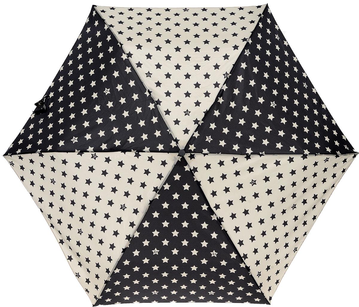 Зонт женский Lulu Guinness Superslim, механический, 3 сложения, цвет: черный, бежевый. L718-268645100019/18303/2900NСтильный механический зонт Lulu Guinness Superslim в 3 сложения даже в ненастную погоду позволит вам оставаться элегантной. Облегченный каркас зонта выполнен из 6 спиц из фибергласса и алюминия, стержень также изготовлен из алюминия, удобная рукоятка - из пластика. Купол зонта выполнен из прочного полиэстера. В закрытом виде застегивается хлястиком на кнопке. Яркий оригинальный принт в виде звезд поднимет настроение в дождливый день.Зонт механического сложения: купол открывается и закрывается вручную до характерного щелчка.На рукоятке для удобства есть небольшой шнурок, позволяющий надеть зонт на руку тогда, когда это будет необходимо. К зонту прилагается чехол, который застегивается на липучку. Чехол оформлен нашивкой с названием бренда. Такой зонт компактно располагается в кармане, сумочке, дверке автомобиля.
