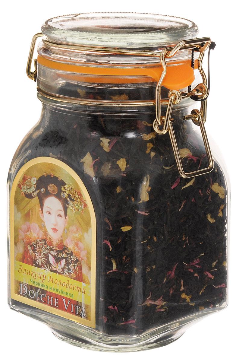 Dolche Vita Эликсир молодости элитный черный листовой чай, 160 г101246Элитный черный листовой чай Dolche Vita Эликсир молодости - цейлонский черный крупнолистовой чай с добавлением лепестков подсолнечника, василька красного, кусочков ананаса и ягод, ароматизированный натуральными маслами, в стеклянной банке с замком.Уважаемые клиенты! Обращаем ваше внимание, что полный перечень состава продукта представлен на дополнительном изображении.
