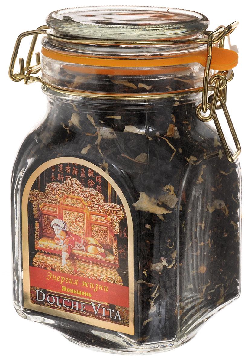 Dolche Vita Энегия жизни элитный черный листовой чай, 160 г101246Элитный черный чай Dolche Vita Энегия жизни - цейлонский крупнолистовой чай с добавлением лепестков жасмина, календулы, вереска, кусочков манго и женьшеня. Ароматизирован натуральными маслами лимона и ванили. Поставляется в стеклянной банке с замком.Уважаемые клиенты! Обращаем ваше внимание, что полный перечень состава продукта представлен на дополнительном изображении.