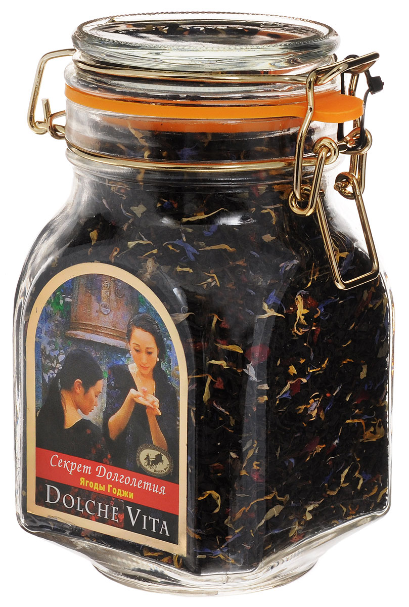 Dolche Vita Секрет Долголетия элитный листовой чай, 200 г4610001573098Элитный черный чай Dolche Vita Секрет Долголетия - цейлонский крупнолистовой чай с добавлением листьев черной смородины, календулы, вереска, кусочков манго, ягод. Ароматизирован натуральным маслом черники. Поставляется в стеклянной банке с замком.Уважаемые клиенты! Обращаем ваше внимание, что полный перечень состава продукта представлен на дополнительном изображении.