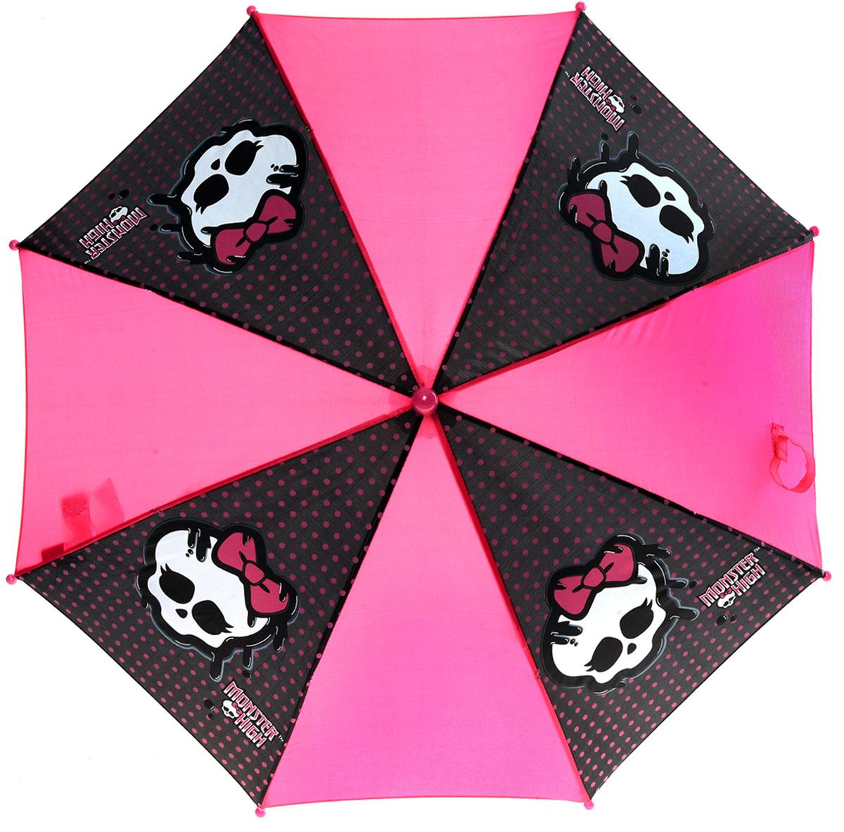 Зонт-трость для девочки Monster High, механика, цвет: ярко-розовый, черный. MOH-132CX1516-50-10Зонт-трость Monster High надежно защитит от непогоды. Купол, оформленный оригинальным принтом, выполнен из высококачественного полиэстера, который не пропускает воду. Каркас зонта, выполненный из прочного металла, состоит из восьми спиц. Зонт имеет механический тип сложения: открывается и закрывается вручную до характерного щелчка. Изделие оснащено удобной пластиковой ручкой изогнутой формы.