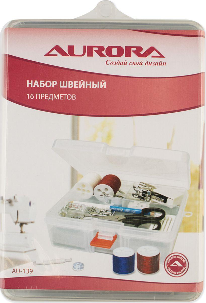 Набор швейный Aurora 16 предметовSM 10-09Набор швейный 16 предметов.В набор входят:1. Ножницы для выполнения мелких работ и подрезки нитей;2. Карандаш 2-х цветный для нанесения разметки на ткань;3. Нитевдеватель для швейных машин и оверлоков;4. Иглы для швейной машины 5шт./упаковка: стандартные №№ 70-100;5. Набор шпулей для швейной машины, 5шт./упаковка;6. Нитка швейная, 200 м, цвет черный;7. Нитка швейная, 200 м, цвет белый;8. Нитка швейная, 200 м, цвет коричневый;9. Нитка швейная, 200 м, цвет синий;10. Нитка швейная, 200 м, цвет красный; 11. Лапка пластиковая для вшивания потайной молнии;12. Лапка шагающая, 7мм;13. Лапка тефлоновая;14. Лапка оверлочная;15. Лапка с линейкой;16. Лапка для трикотажа.
